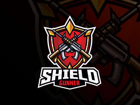 Shield and guns sport design. Guard and gunner emblem vector illustration. Shield and weapon symbol design, Emblem design for esports team. Vector illustration