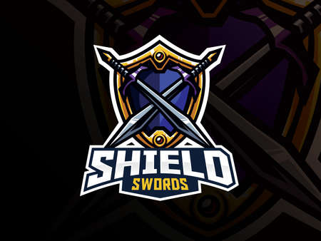 Shield and swords badge sport  design. Warrior emblem vector illustration. Shield and weapon symbol design, Emblem design for esports team. Vector illustration  イラスト・ベクター素材