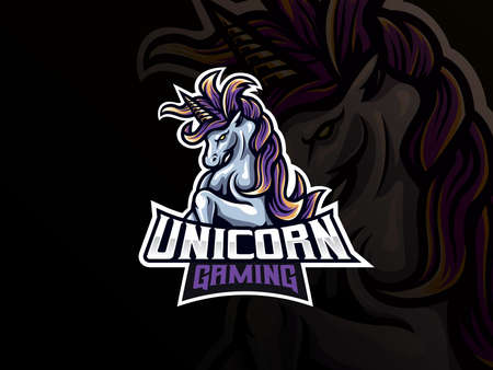 Unicorn mascot sport  design. Unicorn horse mascot vector illustration  . Mythology unicorn mascot design, Emblem design for esports team. Vector illustration