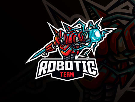 Robot mascot sport logo design. Robot warrior mascot vector illustration logo. Robotic war mascot design, Emblem design for esports team. Vector illustration
