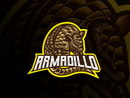 Armadillo mascot sport logo design. Placental mammal mascot vector illustration logo. Wild armored armadillo mascot design, Emblem design for esports team. Vector illustration 向量圖像