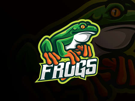 Frog mascot sport logo design. Amphibian animal mascot vector illustration logo. Wild frog mascot design, Emblem design for esports team. Vector illustration