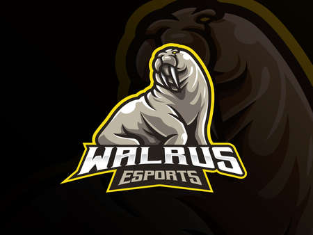 Walrus mascot sport logo design. Sea animal mascot vector illustration logo. Wild seals mascot design, Emblem design for esports team. Vector illustration