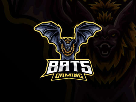 Bat mascot sport logo design. Nocturnal animal mascot vector illustration logo. Wild bat mascot design, Emblem design for esports team. Vector illustration Archivio Fotografico - 151915178