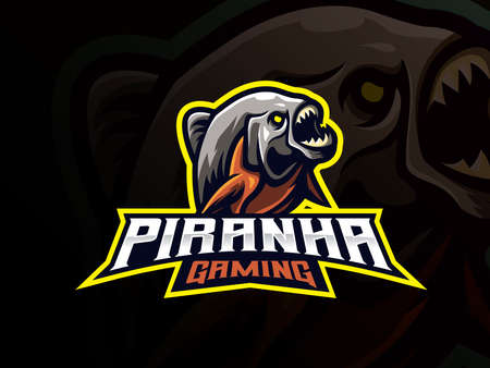 Piranha mascot sport logo design. Predator animal mascot vector illustration logo. Wild piranha amazon predator mascot, Emblem design for esports team. Vector illustration