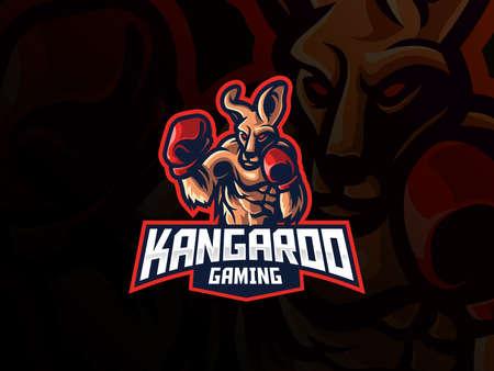 Kangaroo mascot sport logo design. Kangaroo fighter mascot vector illustration logo. Wild kangaroo mascot design with boxing gloves, Emblem design for esports team. Vector illustration