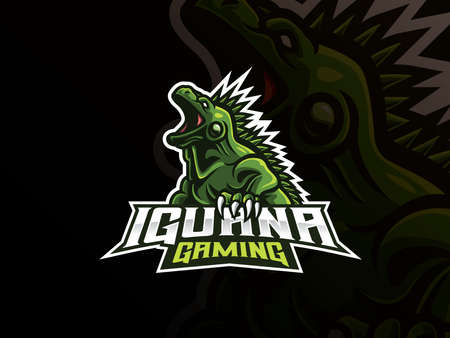 Iguana mascot sport logo design. Exotic iguana animal mascot vector illustration logo. Wild iguana reptile mascot design, Emblem design for esports team. Vector illustration  イラスト・ベクター素材