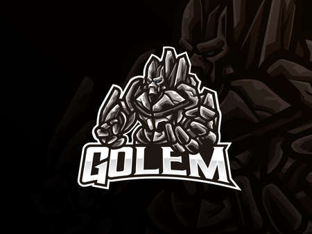 Golem mascot sport logo design. Mythology monster mascot vector illustration logo. Giant monster mascot design, Emblem design for esports team. Vector illustration