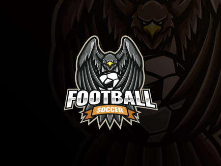 Eagle mascot sport logo design. Eagle soccer mascot vector illustration logo. Eagle covers the soccer ball with wings, Emblem design for sports team and competition. Vector illustration