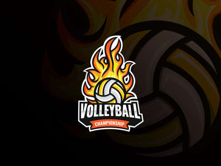 Volleyball sport logo design. Flaming volleyball ball vector badge. Volleyball with fire vector illustration. Emblem design for sports team and competition  イラスト・ベクター素材