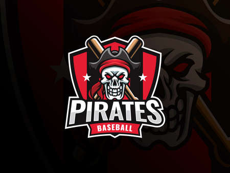 Baseball sport logo design. Modern professional baseball vector badge. Skull pirate baseball logo design vector template. Emblem design for sports team and competition