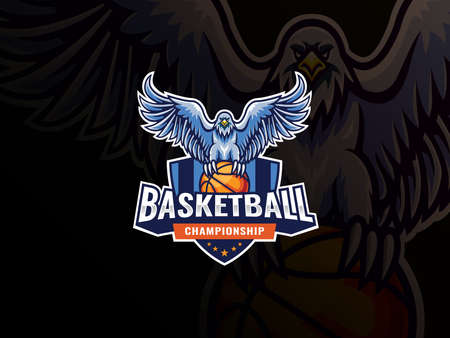 Eagle mascot sport logo design. Eagle bird mascot vector illustration logo. Eagle pounces on basketball, Emblem design for sports team and competition. Vector illustration
