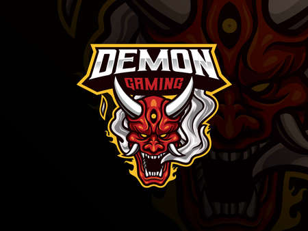Oni demon mascot sport logo design. Oni mask mascot vector illustration logo. Evil mascot design, Emblem design for esports team. Vector illustration