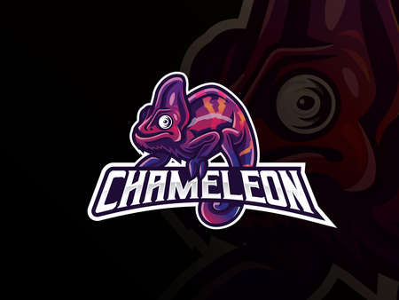 Chameleon mascot sport logo design. Exotic chameleon animal mascot vector illustration logo. Wild chameleon reptile mascot design, Emblem design for esports team. Vector illustration