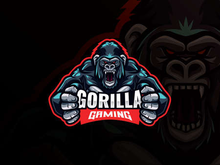 Gorilla mascot esport logo design. Gorilla animal mascot vector illustration logo. Wild angry gorilla mascot, Emblem design for esports team. Vector illustration  イラスト・ベクター素材