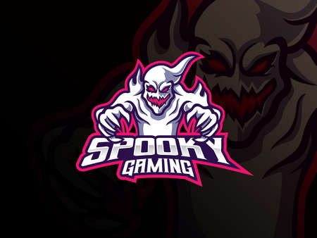 Ghost mascot sport logo design. Spooky ghost mascot vector illustration logo. Spooky mascot design, Emblem design for esports team. Vector illustration Archivio Fotografico - 153655491
