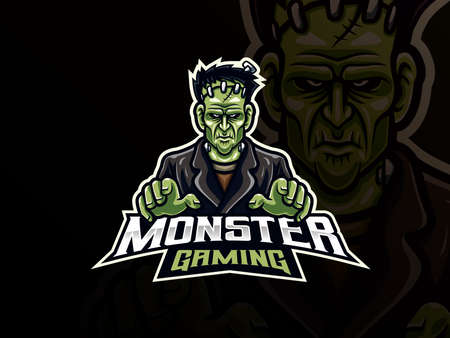 Frankenstein sport logo design. Monster mascot vector illustration logo. Scary frankenstein mascot design, Emblem design for esports team. Vector illustration