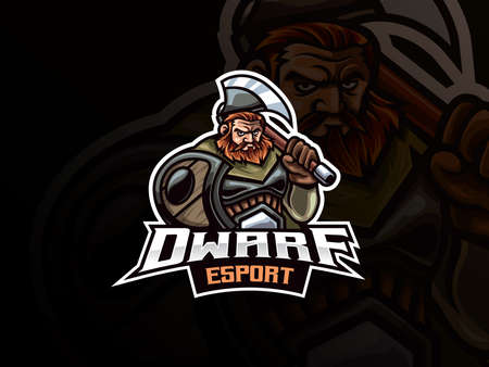Dwarf warrior mascot sport logo design. Warrior mascot vector illustration logo. Mythology dwarf warrior mascot design, Emblem design for esports team. Vector illustration  イラスト・ベクター素材