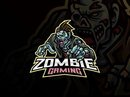 zombie sport logo design. Undead mascot vector illustration logo. Monster zombie mascot design, Emblem design for esports team. Vector illustration Logo
