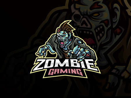 zombie sport logo design. Undead mascot vector illustration logo. Monster zombie mascot design, Emblem design for esports team. Vector illustration