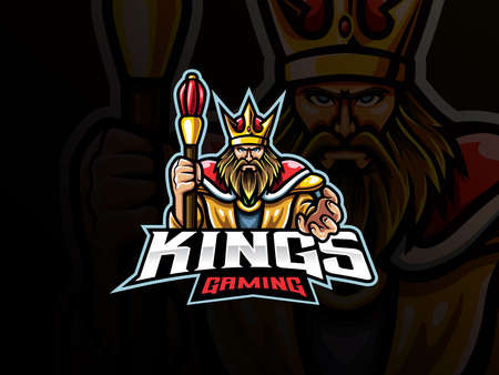 The king mascot sport logo design. Medieval throne mascot vector illustration logo. Royal king mascot design, Emblem design for esports team. Vector illustration