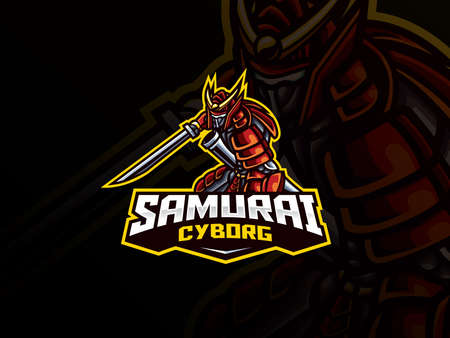 Samurai mascot sport logo design. Vector illustration samurai mascot with sword katana. Samurai warrior mascot, Emblem design for esports team. Vector logo illustration