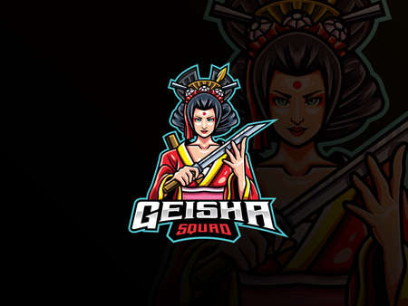 Geisha mascot esport logo design. Japanese girl mascot vector illustration logo. Geisha mascot design with weapon, Emblem design for esports team. Vector illustration