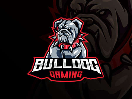 Bulldog mascot sport logo design. Dog head mascot vector illustration logo. Wild bulldog mascot design, Emblem design for esports team. Vector illustration 向量圖像