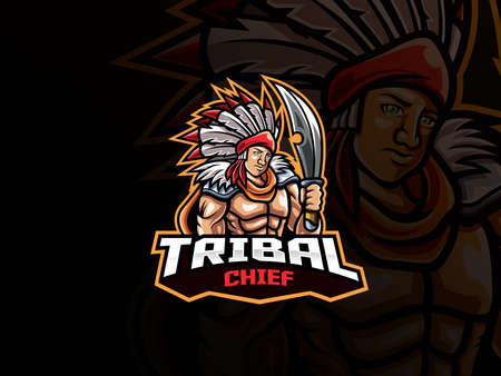Tribal chief mascot esport logo design. Tribal warrior mascot vector illustration logo. Tribal chief mascot design with weapon, Emblem design for esports team. Vector illustration  イラスト・ベクター素材