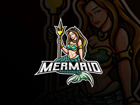 Mermaid mascot esport logo design. Beautiful mermaid mascot vector illustration logo. Mermaid mascot design holding a trident, Emblem design for esports team. Vector illustration