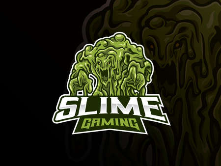 Slime monster mascot esport logo design. Scary monster slime mascot vector illustration logo. Green slime monster mascot design, Emblem design for esports team. Vector illustration
