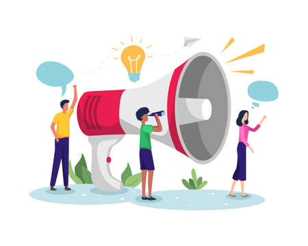 Vector illustration of Business promotion. Men and women promoting businesses with large megaphone. Concept of Business promotion, Referral marketing and Demonstration. Vector in flat style  イラスト・ベクター素材