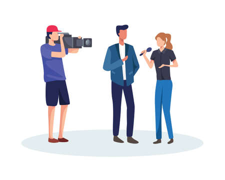 Journalists take interview. Journalist and operator interview television program or news. TV host or reporter and cameraman questioning man. Broadcasting reportage with cameraman. Vector in flat style  イラスト・ベクター素材