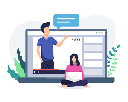 Online course tutorial illustration. Online courses concept with man on laptop. Man teacher on laptop screen, woman watching online course. Web courses or tutorials concept. Vector in flat style