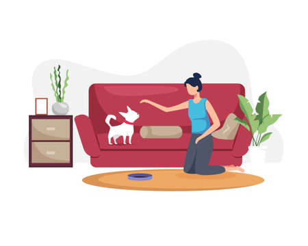 Young woman with her dog at home. Young woman playing with dog in the living room. Woman spends time with her pet at home, Illustration of a woman playing with a dog. Vector in flat style  イラスト・ベクター素材