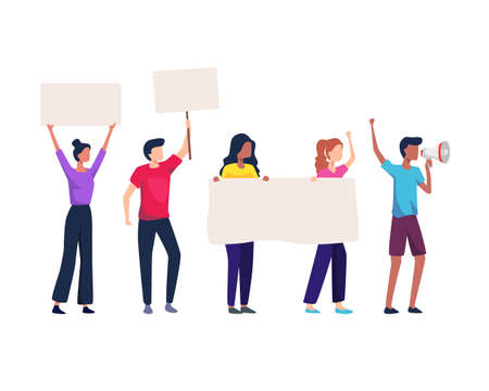 Vector illustration of Group of protesting people. Crowd of protesting people holding banners and placards. Group of male and female protesters or activists. Vector in flat style