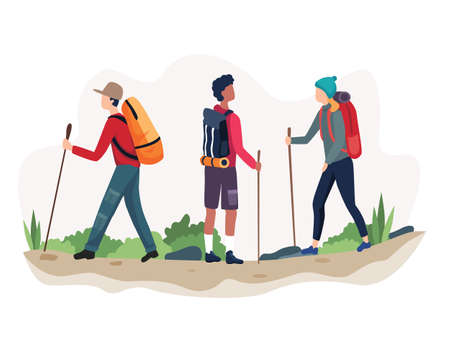 Vector illustration Outdoor activity hiking. Man and woman in outdoor mountain landscape. Holiday summer adventure in camping vector. Vector in flat style  イラスト・ベクター素材