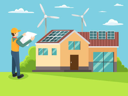 House with green energy concept. Green energy an eco friendly house solar and wind power. Alternative energy engineering concept. Engineer in uniform install solar panel on house. Vector in flat style