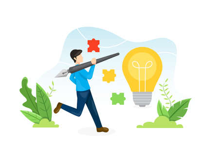 Design process concept illustration. Young man holding a pen with a light bulb growing from a pot. Process of creativity or concept brainstorming. Vector illustration in flat style