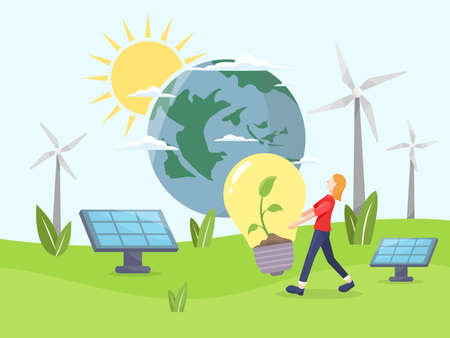 Clean energy concept. Renewable energy for better future. Girls carry a bulb with a plant in it. Environmentally friendly energy, Solar panel and wind turbine. Vector illustration in a flat style