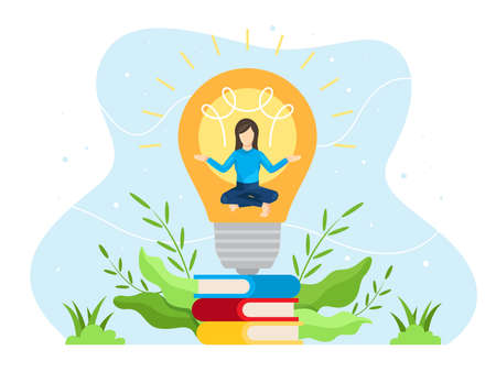 Brainstorming concept illustration. Young woman meditated in the light bulb. Process of creativity or concept brainstorming. Vector illustration in flat style