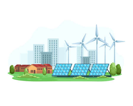 City landscape with the concept of renewable energy. Green energy an eco friendly solar power and wind turbine. Clean and Alternative energy, Smart city concept. Vector illustration in a flat style  イラスト・ベクター素材