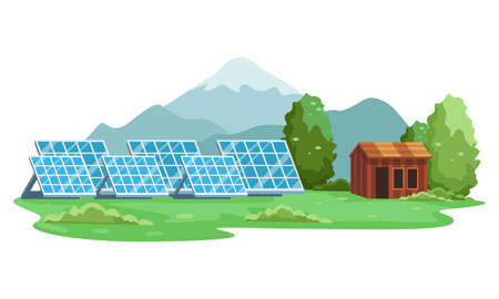 Landscape of Renewable energy solar panel. Green energy an eco friendly solar power. Alternative energy, Clean energy concept. Vector illustration in a flat style
