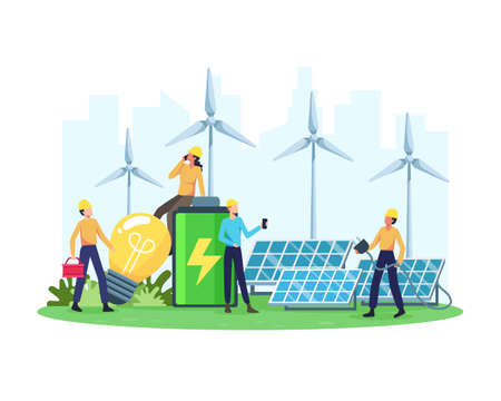 Vector illustration Renewable energy concept. Renewable electric power station with solar panels and wind turbines. Clean electric energy from renewable sources sun and wind. Vector in a flat style  イラスト・ベクター素材