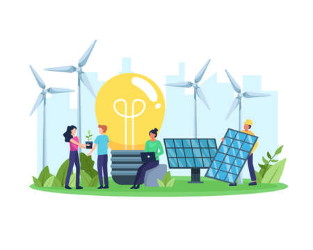Vector illustration Clean energy concept. Renewable energy for better future. People with environmentally friendly energy, Solar panel and wind turbine. Vector illustration in a flat style
