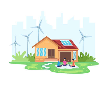 House with clean energy concept. Eco friendly house solar and wind power. Alternative energy concept. People in front of the house with eco-friendly renewable energy. Vector illustration in flat style