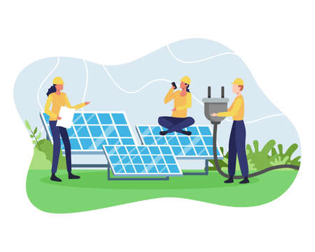 Vector concept of Renewable energy. Alternative energy resource with solar panels, Solar panel power and Engineer character. Green and Environmentally friendly energy. Vector in a flat style