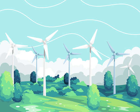 Vector illustration Wind turbine renewable energy. Wind turbine scenic landscape, Green and Environmentally friendly energy. Wind turbine tower in Field green. Vector illustration in a flat style