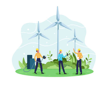 Vector concept of Renewable energy. Alternative energy resource with rotation windmills, Wind Turbines and Engineer character. Green and Environmentally friendly energy. Vector in a flat style
