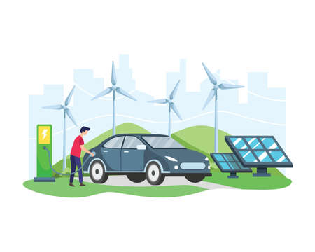 Vector illustration Electric car concept. Man charging electric car at the charger station in front of Wind turbine and Solar panel. Green vehicle, Ecologically clean transport. Vector in flat style